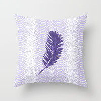 Violet feather Throw Pillow by juliagrifoldesigns