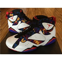 "Air Jordan 7 ""Sweater "" white/purple blue Basketball Shoes 36-47"