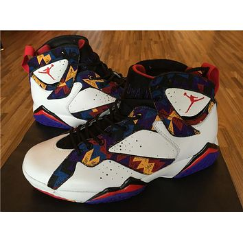 "Air Jordan 7 ""Sweater "" white/purple blue Basketball Shoes 41-47"