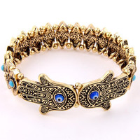 Evil Eye Hamsa Hand Stretch Bracelet Silver or Antique Gold