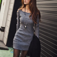 SQUARE NECK SHOULDER HOLLOW OUT SOLID COLOR LONG SLEEVE SLIMMING RIBBED COTTON DRESS