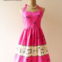 SALE -Music In Pink Hot Pink Dress Music Band Dress Retro Party  Bridesmaid Choir Concert Event Singer Dress -Size xs-xl, custom