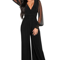 2016 womens rompers Winter Autumn Club Party Black wine blue V-neck Embellished Cuffs Long Mesh Sleeves Loose Jumpsuit LC6650