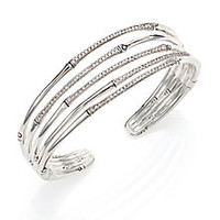 John Hardy - Bamboo Diamond & Sterling Silver Five-Row Cuff Bracelet - Saks Fifth Avenue Mobile