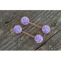 Light Purple Druzy Rose Gold Nipple Barbells Nipple Piercings