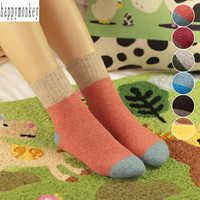 2015 new 10 pieces=5 pairs winter Thickening of pure color women socks rabbit wool blended terry socks ultra thick