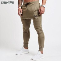 GYMOHYEAH Men Fitness Pants Sweatpants Fashion Trousers Casual Workout Pants Sporting Workout Jogger Cotton Pants