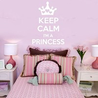 Wall Decals Quote Keep Calm I`m A Princess Decal Caron Hearts Vinyl Sticker Family Bedroom Nursery Girl Room Home Decor Art Murals Ms565