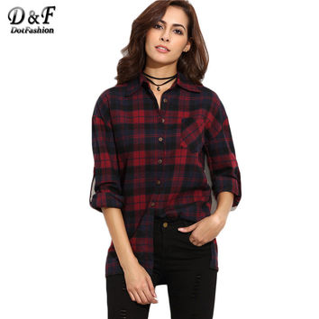 Dotfashion Burgundy Plaid Drop Shoulder Roll Tab Sleeve Shirt Women Vintage Long Sleeve Lapel Buttons Blouse