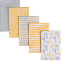 Gerber 5 Pack Flannel Receiving Blanket - Yellow/Gray