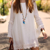 White Crochet Lace Trim Flared Sleeve Shift Dress