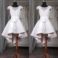 elegant short prom dress 2016 new o neck appliques lace satin  girl pageant gown for formal coctail  party robe de soiree