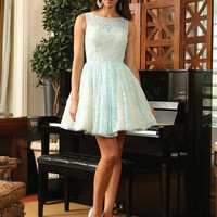 Q1150 High Neck Lace Cocktail Dress