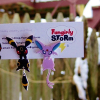Espeon and Umbreon  Clinging earrings Handmade kawaii Eeveelutions  gamer two part front and back post earrings