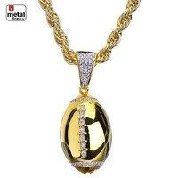 Jewelry Kay style Men's 14K Gold Plated Diamond Football Pendant Rope Chain Necklace BCH 15109 G