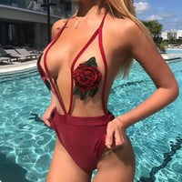 Rose Embroidery Sexy Gauze One Piece Swimwear Bikini Swimsuit