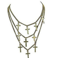 Basket Hill, Gold Tone Three (3) Chain and Multiple Cross Choker Necklaces