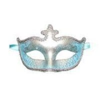 Light Blue and Silver Hand Painted Venetian Masquerade Mask With Metallic Fabric And With Glittery Scrollwork