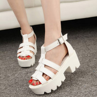 Open Toe Caged Summer Women Shoes Leather Peep Toe Flat Platform High Heel Gladiator Sandals Boots Thick Heel 35
