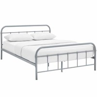 Maisie Queen Stainless Steel Bed Frame, Gray -Modway