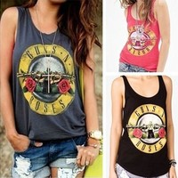 Punk Style Women Casual Letter Rose Print Loose Tank Top Dark Grey Vinatage Tees 100% Cotton [8323206337]