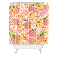 Lisa Argyropoulos Peaches On Pink Shower Curtain