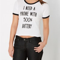 Battery Life Cropped Tee