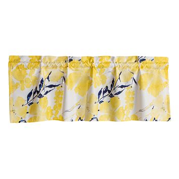 Tache Microfiber Contemporary Watercolor Floral Yellow Window Treatment Valance (JHW-841)
