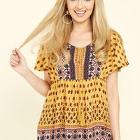 Story Free Style Yellow Print Top