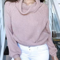Pink Long Sleeve Knitted Sweater