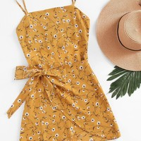 Open Back Wrap Daisy Print Cami Dress