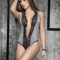 Grey and Black Lace Sporty Bodysuit