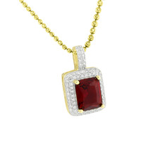 Garnet Ruby Pendant Solitaire Gold On 925 Silver