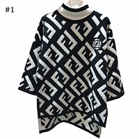 FENDI 2018 autumn and winter new high-necked seven-point trumpet sleeve sweater F0871-1