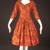 1950s Floral Cotton Shirtwaist Dress, Bust-36