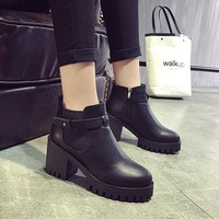 On Sale Hot Deal Zippers Dr. Martens With Heel Shoes Round-toe Boots [7993616961]