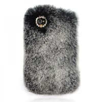 Grey Furry Rhinestone iPhone 4 / 4S Cover for Winter