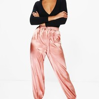 Lorena Satin Relaxed Hareem Trousers | Boohoo