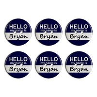 Bryan Hello My Name Is Plastic Resin Button Set of 6
