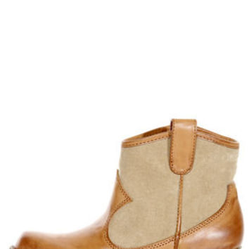 Dirty Laundry Bellestarr Natural Tan Two-Tone Cowboy Ankle Boots