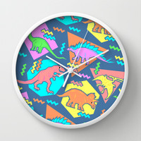 Nineties Dinosaur Pattern Wall Clock by chobopop