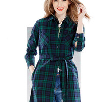Dark Green Plaid Printed Belt Waist Shirt
