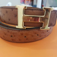 RARE Hermes Ostrich Belt w/ Gold Buckle Size 95 excellent condition $3000