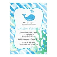 Blue Baby Boy Whale Baby Shower 5x7 Paper Invitation Card