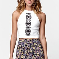LA Hearts Embroidered Goddess Neck Cropped Tank Top - Womens Tees - White