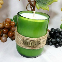Upcycled Wine Bottle Soy Candle/Repurposed Winery Candle/Recycled Believe Green Wine Bottle/Vineyard Scented Candle/Coconut Lime Verbena