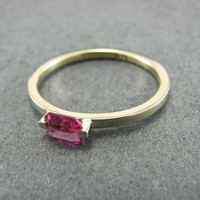 WEEKEND SALE PINK Panther, Pink Tourmaline Engagement Ring, 14K white Gold, Stackable Ring
