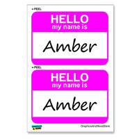 Amber Hello My Name Is - Sheet of 2 Stickers