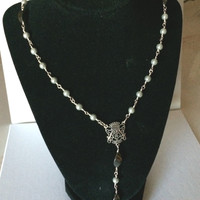 Rosary Necklace with Swarovski Pearls and Hematite Handmade Unbreakable
