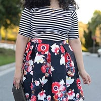 Striped T-Shirt with Floral Printed Skirt Twinset